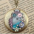 Steampunk Colorful Owl Locket Necklace Vintage Style Original Design