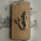 Steampunk Mermaid Gold bling glitter hard case For Apple iPhone 5 case cover