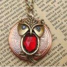 Handmade Steampunk Owl Locket Necklace Vintage Style Original Design