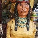 6 ft Cigar Store Indian Maiden w Baby Papoose Hand Carved Wooden RED