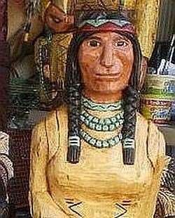 5 ft Cigar Store Indian Maiden w Baby Papoose Hand Carved Wooden RED