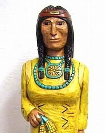 6 ft Cigar Store Indian Maiden w Baby Papoose Hand Carved Wooden YELLOW