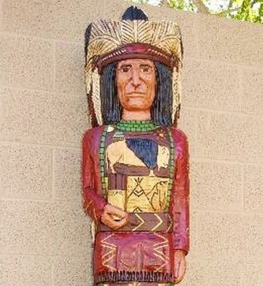 Cigar Store Indian 6' Red Coat Buffalo Chief Statue w Knife