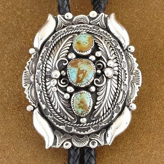 Navajo Turquoise Bolo Tie No 8 Nevada Gem Sterling Silver Native Made in USA