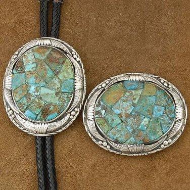Sterling Silver Arizona Kingman Turquoise Inlay Bolo Tie Buckle Set