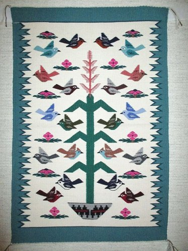 Navajo Wool Rug Tree of Life Birds of Paradise Native Made in USA