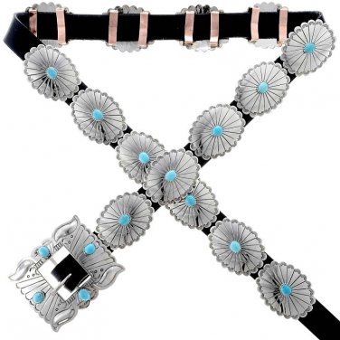 Navajo Traditional Turquoise & Silver Concho Belt Native Made in USA