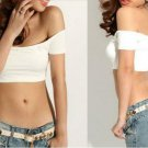 CROP TOP FITTED OFF SHOULDER MIDRIFF WHITE