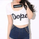 DOPE CROP TOP FITTED T SHIRT WHITE