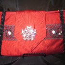Solid Red Silk Tie Purse, black and silver trim and silver broach