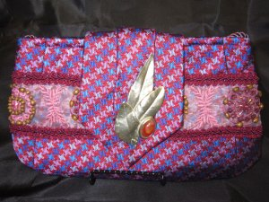 Pink and Burgendy  CottonTie Purse with silver antique broach and stone