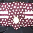 Burgendy Dice SilkTie Purse with cream trim and antique button