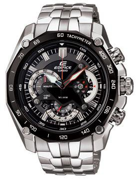 CASIO EF550D-1A EDIFICE MENS SOLID STAINLESS STEEL CHRONOGRAPH DRESS WATCH