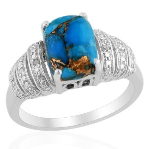 Mojave Blue Turquoise Diamond Ring in Sterling Silver (Size 7) Retail $141