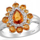 Viceroy Spessartite Garnet, White Topaz Ring in Sterling Silver (Size 9) Retail $376