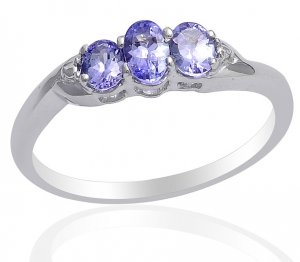 Tanzanite Ring Sterling Silver Size 7 Retail $74
