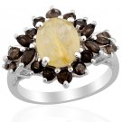 Golden Rutilated Quartz, Smoky Quartz Ring in Sterling Silver (Size 8) TGW 3.83 cts. Retail $204