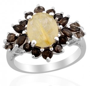 Golden Rutilated Quartz, Smoky Quartz Ring in Sterling Silver (Size 8) TGW 3.83 cts. Retail $204