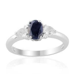 Black Sapphire, White Topaz Ring in Sterling Silver (Size 8) Retail $96