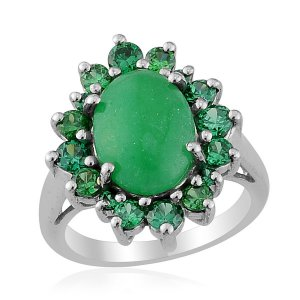 Green Jade Ring, Simulated Diamond Ring in Platinum Bond Brass (Size 7) TGW 7.95 cts. (Retail $160)