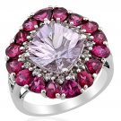 Rose De France Amethyst, Rhodolite Garnet, White Topaz Ring in Sterling Silver Size 9 (Retail $378)
