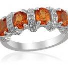 Spessartite Garnet Diamond Ring Sterling Silver (Size 6) TDiaWt 0.04cts, TGW 0.30 cts.329_18_33