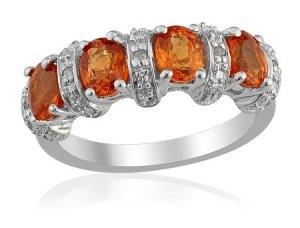Spessartite Garnet Diamond Ring Sterling Silver (Size 6) TDiaWt 0.04cts, TGW 0.30 cts.329_18_33