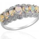 Ethiopian Opal, Diamond Ring in Sterling Silver (Size 9) TGW 1.02 cts. (Retail $235)