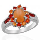 Pink Moonstone & Jalisco Fire Opal Ring in Sterling Silver (Size 6) TGW 2.03 (Retail $160)