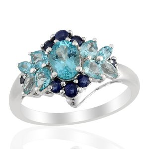 Apatite (Oval 0.80 Ct), Blue Sapphire Ring in Sterling Silver (Size 8) TGW 2.14 cts. (Retail $269)