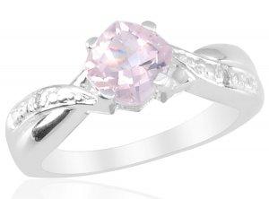 Rose Quartz (Cush 0.90 Ct), Diamond Ring in Sterling Silver (Size 9) TGW 0.92 cts. (Retail $96)