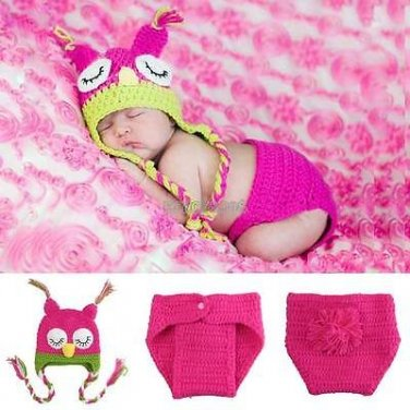 Baby Crochet Owl Photo Prop Outfit - Size 0-9 mo