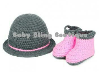 Baby Girl Crochet Hat & Boots Photo Prop Outfit - Size 3-9 mo