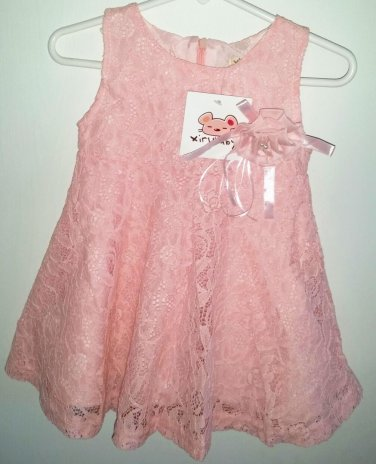 Girl's Pink Lace Dress Size 18 months Boutique Dress