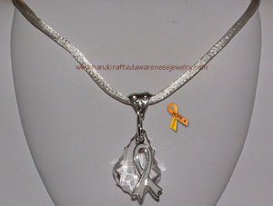 White, Invisible Illness, Ribbon, Awareness, Swarovski, Pendant, Necklace; item# SPNW