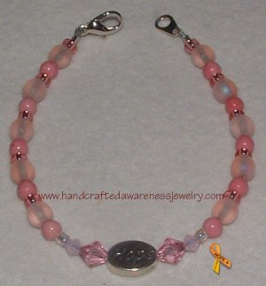 Pink, Breast Cancer, Ribbon, Awareness, HOPE For A Cure, Bracelet;  item# PHB