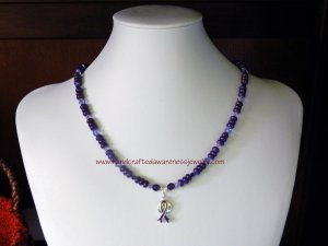 Purple, Fibromyalgia, Ribbon, Awareness, HOPE, Necklace;  #FHN