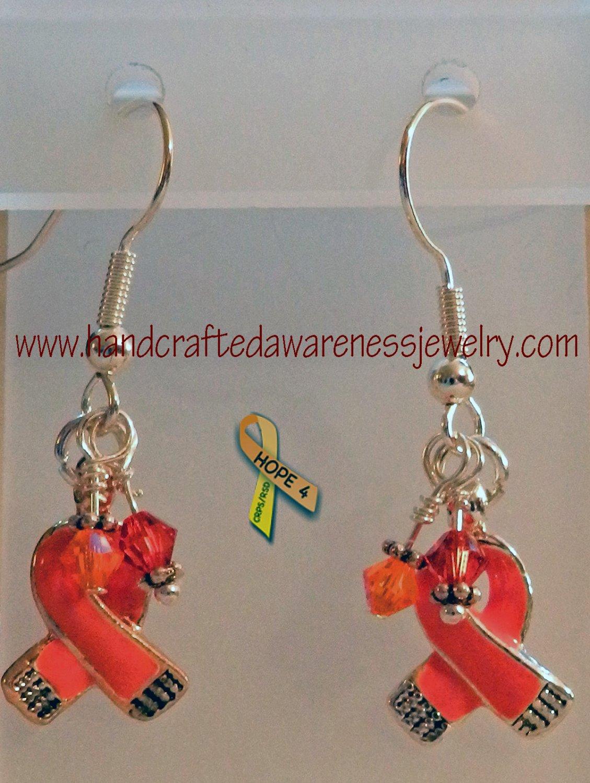 Orange, CRPS, RSD, MS, Ribbon, Awareness, Swarovski, Earrings;  item# CSE1