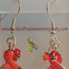 Orange, CRPS, RSD, MS, Ribbon, Awareness, Swarovski, Earrings;  item# CSE1