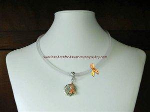 Orange, MS, CRPS, RSD, Ribbon, Awareness, Neoprene, HOPE, Necklace; item# NHN