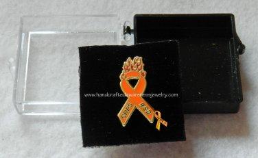 """CRPS, RSD, Orange, Ribbon, Awareness, """"Fight the Fire"""" Lapel Pin"""
