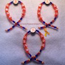 CRPS, RSD, Orange, Ribbon, Awareness Ornaments; set of 3
