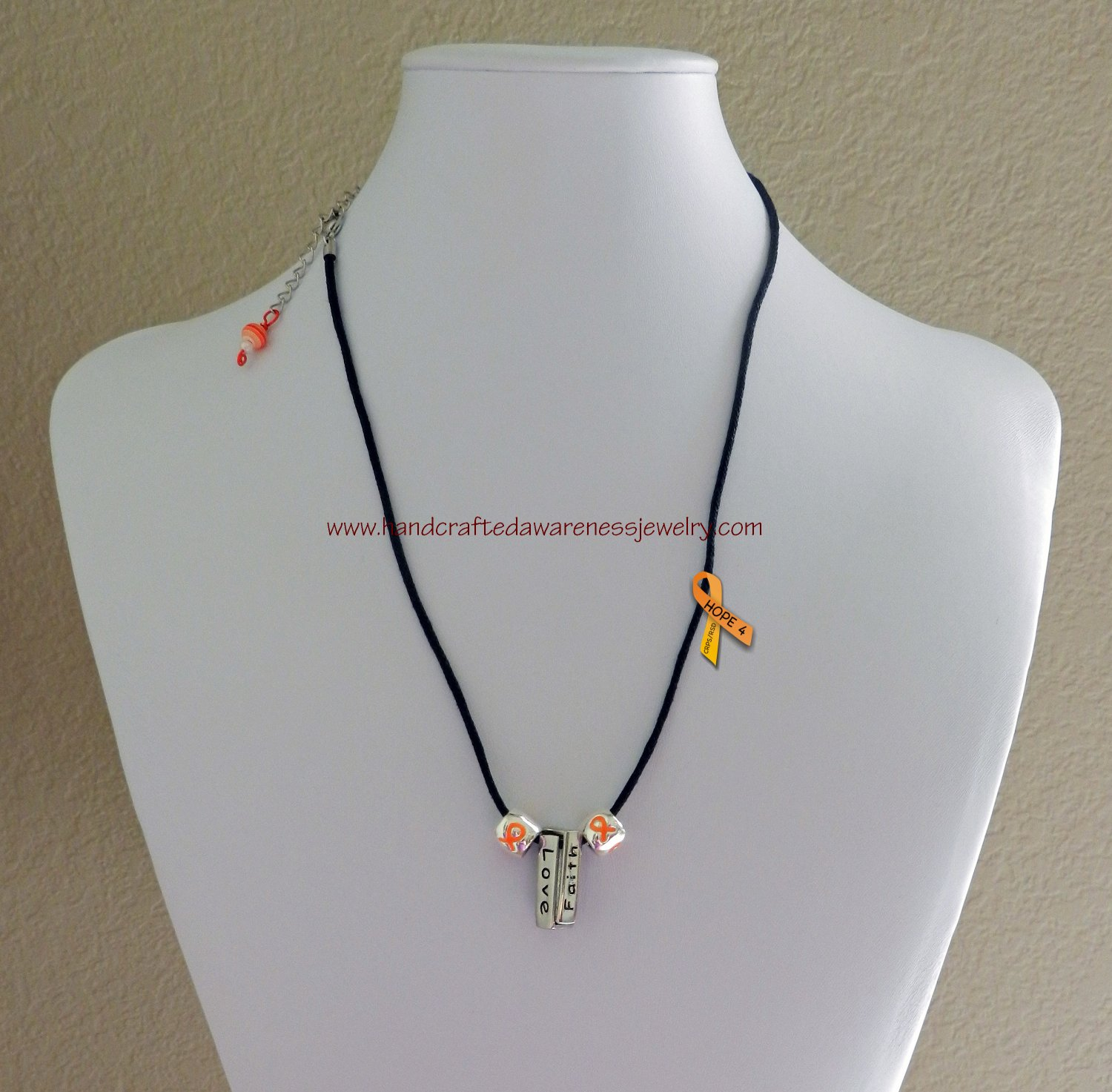 CRPS, RSD, Orange, Awareness, Black, Leather, Necklace with Inspirational Charm Pendant