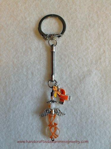 Orange, CRPS, RSD, MS, Awareness, Guardian Angel, Key Chain