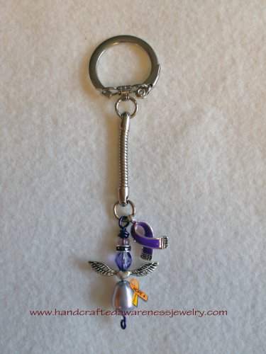 Fibromyalgia, ADHD, Chron's, Migraine, Alzheimer's, Purple Ribbon, Guardian Angel, Key Chain