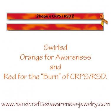 CRPS, RSD, Orange, Ribbon, Awareness, Silicone, Debossed Wristband