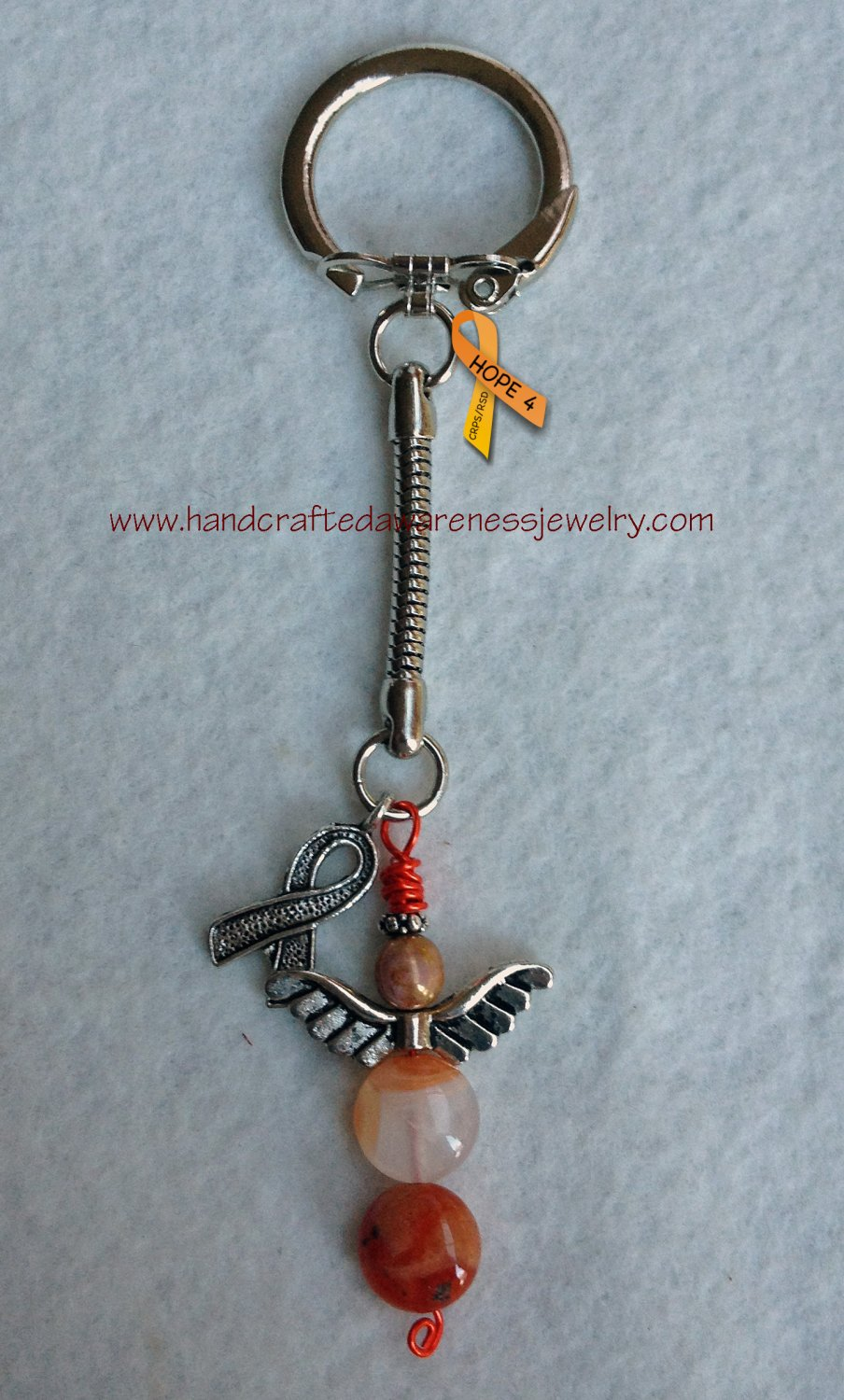 Guardian Angel Key Chain, Awareness Ribbon Key Chain