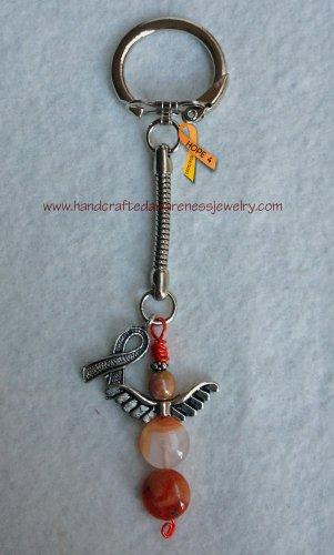Guardian Angel, Silver Plate Awareness Ribbon, Key Chain