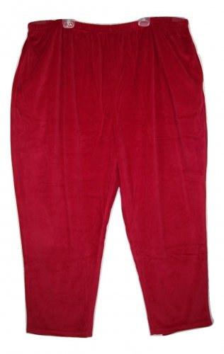 Woman Within 5X Classic Red Velour Straight Leg Pants