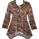 Yummy Plus 5X Animal Print Cowl Neck Hi Lo Hem Long Sleeve Top